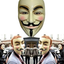 Wholesale Christmas Vendetta - V for Vendetta Mask Halloween party mask Anonymous Guy Fawkes Fancy Dress Adult Costume Accessory free shipping DK9002MJ