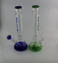 Wholesale Icing Logos - Beaker bong with grace logo fantastic design Green beaker base water pipe ice catcher 14-18mm downstem tall 16""