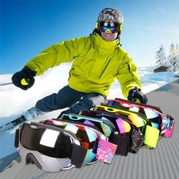 Wholesale Ice Goggles - Double Lens UV400 Big Ski Mask Glasses Skiing Goggles Anti-fog Ski Snowboard Snowboarding Winter Ice Snow Sports Eyewear
