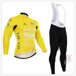 Wholesale Winter Bike Clothing - 2015 Tour de France ropa ciclismo invierno Winter thermal fleece long cycling jersey Bicycle Clothes MTB Bike long sleeves maillot ciclismo