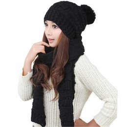 Wholesale Womens Knitted Hat Gloves - Wholesale-Nov24 Amazing 2Piece Set Womens Warm Knit Winter Scarf Caps Hats for Women Lady Girl New