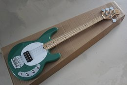 Wholesale Green Electric Bass Guitar - Free shipping High Quality Sting Ray 4 String Music Man Active Pickup Green Electric Bass Guitar Maple Neck