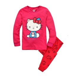 Wholesale Cotton Red Pajamas For Kids - Kids Suit Girls Pajamas Hello Kitty Baby Sets Long Sleeve For Girls Children Clothing Sport Sets Two Pieces 2016 New Autumn