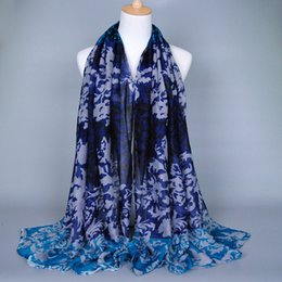 Wholesale Voile Shawls Wholesaler - NEW DESIGN Ladies fashion printe porcelain floral cotton voile multicolor long shawls autumn muslim hijab scarves scarf