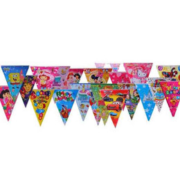 Wholesale Paper Pennant - HAPPY BIRTHDAY Color Flags Banners Children Birthday Party Decoration Hanging Paper Flags Pennant Festive Party Supplies Party Favors SD456