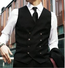 Wholesale Men Satin Waistcoat - Brand New Groom Vests Black Groomsmens Best Man Vest Custom Made Size and Color Double-Breasted Wedding Prom Dinner Waistcoat K213