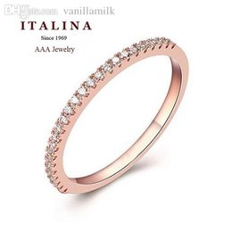 Wholesale Wholesale Micro Pave Rings - Wholesale-Fashion Eternity Ring Rose White Gold Plated Micro Paved Cubic Zirconia Ring Jewelry for Engagement