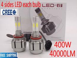 Wholesale Cree Chip Led Bulbs - 400W 40000LM Car CREE 4 sides Bulb Light H4 H1 H7 H8 H9 H11 9005 9006 WHITE 6000K chips LED Headlights Auto Conversion