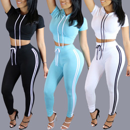 Wholesale Cropped Sleeves - New Women Autumn Tracksuits Slim Fit Two Piece Gym Clothing Jogging Sportwear Hooded Crop Hoodie Sweater Skinny Pencil Pants DZF0614