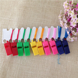 Wholesale Hawaii Shipping - 2880PCS Lot Promotion colorful plastic Sport whistle with lanyard 6 colors mixed DHL Fedex Free shipping