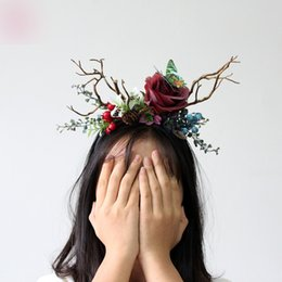 Wholesale Hoop Antlers - New Hot Christmas Rose Hair Sticks Manual Simulation Retro Antler Hairband Simulation Branches Head Hoop Girl Adult Hair Headdress A7805