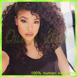 Wholesale Tie Curl Virgin Hair - Full Lace Human Hair Wigs Brazilian Curly Virgin Hair 10mm Curl 12 to 24 Inch Natural Black African Amecian Full Hand Tied 2014