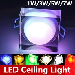Wholesale Acrylic Led Ceiling Light - High power Downlights 1W 3W 5W 7W LED acrylic crystal ceiling lamps AC85-265V aisle lights porch lamp wall lamp Square LED spotlight