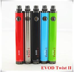 Wholesale Ecig Battery Vv - Evod Twist II Ecig Variable Voltage 510 Thread Battery EVOD TWIST II VV Batteries 1300mah 3.3V-4.8V For MT3 CE4 CE5 G5 Atomizer