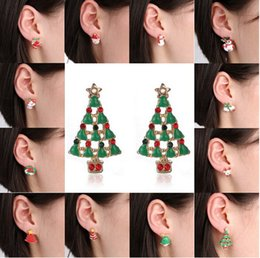 Wholesale snowman bells - The Girls Ear Stud Earrings Christmas Earrings Santa Snowman Christmas Tree Bell Earring Stud Earrings Holiday Gifts for Womens yh