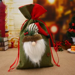 Wholesale Yarn Santa - Christmas Big Bags Small Plaid Santa Claus Gift Bag Kids Christmas Decoration Candy Bag Bauble Christmas Tree Ornaments Supplie 001