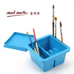 Wholesale gouache paint brush - Wholesale-MontMarte Multifunction Plastic Square Cleaning Brush Case For Gouache Oil Painting Brush Clean Case Plastic Bucket Art Supplies