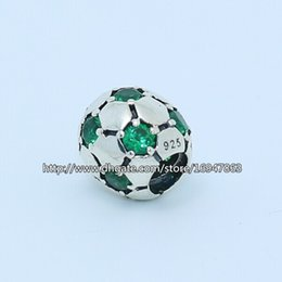 Wholesale European Green Cube - S925 Sterling Silver Football Charm Bead with Green Cz Fits European Pandora Jewelry Bracelets Necklaces & Pendant