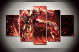 Wholesale Iron Frame Mirror - 5Pcs With Framed Printed Iron Man comics Painting children's room decor print poster picture canvas painting on canvas