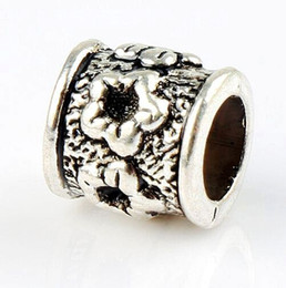 Wholesale Big Sets Beads - Diamante-set Plum Flower Alloy Big Hole Beads MIC 8.5x8.5x8.5mm Tibetan Silver Fit European Charm Bracelet L1301