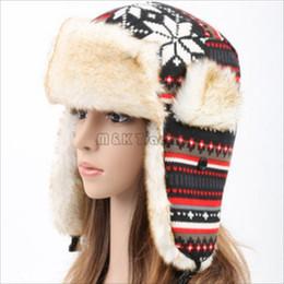 Wholesale Winter Hats Flaps - Winter Snow Fleece Lined Russian Ear Flap Hat Ski Beanie Fashion Snowflake Caps 4 Colors