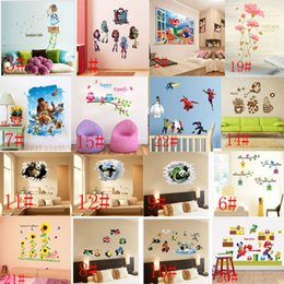 Wholesale Mix Order Wall Stickers Decals - Mix Order Removable Cartoon Wall Sticker for Kids Nusery Rooms Decorative Wall Decals Home Decoration Movie Wallpaper Wall Art 3d Window