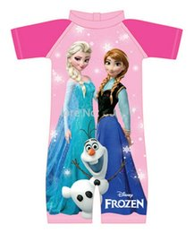 Wholesale Princess Swim Wear - 2014 Frozen Girls Swimwear Elsa Anna Princess Olfa One Piece Swimsuit Cartoon Swimming Bath Costume Bathing Suits Beach Wear
