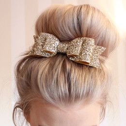 Wholesale Glitter Sequin Hair Bows - Baby Girl Shiny gold glitter Sequin Hair Bows Children Hair Accessories Baby Hairbows Girl Hair Bows 11.5*4.0 cm