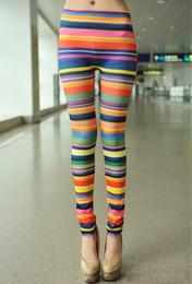 Wholesale Timing Jeggings Pants - 2015 New women legging sport leggings High elasticity Colorful stripes Rainbow adventure time lady leggins pants jeggings YWOM