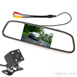 Wholesale Tft Wide - [hot] 4.3 Inch Color Digital TFT LCD Screen Car Rear View Mirror Monitor 420 TVL Night Vision Camera 170 Degrees Wide CMO_334