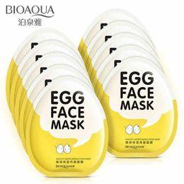 nez gras Promotion Masques faciaux aux œufs BIOAQUA Oil Control Brighten Masque enveloppant Tendre Masque hydratant pour le visage Soins de la peau Masque hydratant