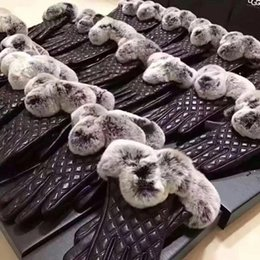 Wholesale Original Gloves - Sheepskin Gloves for Women Super Warm Winter Five Fingers Gloves Rabbit hair Gloves with Original Box Accessories