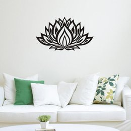 Wholesale Sticker Lotus - Lotus Flower Yoga Wall Decals Vinyl Art Mural Bedroom Wall Sickers Home Decor