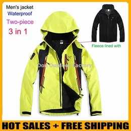 Wholesale Men Mountain Jacket - Brand men's spring winter 3in1 removable two-piece waterproof outdoor rock climbing mountain hiking outing jacket leisure coat