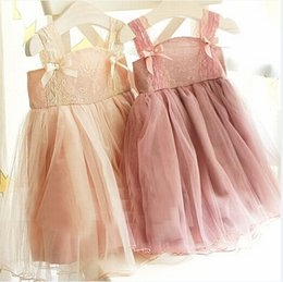 Wholesale children korean dresses - summer korean children clothes girls dress lace Shoulder strap baby girl pink lace dress girl tutu dress princess lace yarn dress children