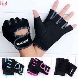 Wholesale Baseball Glove Box - Men Women Gloves Sport Fitness Gym Half Finger Weightlifting Gloves Exercise Training Gloves Black Blue Grey Rose Outdoor Glove Hot 18785