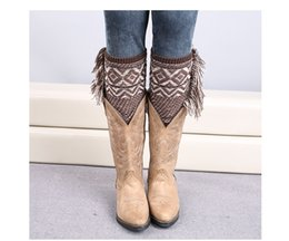Wholesale Women Knitted Style Boots - 120pairs lot new fashion Bohemian style knitted christmas geometric boot cuff leg warmer
