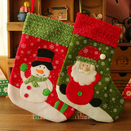 Wholesale Big Snowmen Santa Christmas - Wholesale- (12 pieces lot)Big Size Christmas Stockings Socks Santa Claus Snowman Candy Gift Bag Xmas Tree Decor Festival Party Ornament