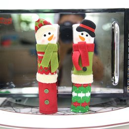 Wholesale Kitchen Christmas Ornaments Wholesale - Christmas Refrigerator Door Ornaments Fridge Knob Decoration Microwave Oven Snowman Kitchen Appliance Handle Covers for Home Set of 3