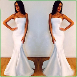 Wholesale Nude Mermaid Celebrity Dress - 2015 Simple Cheap Michael Costello Evening Gowns Elegant Mermaid Prom Party Dresses Strapless White Custom Made Celebrity Red Carpet Gowns