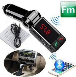 claro reproductor de mp3 Rebajas 10 unids manos libres Bluetooth Car Kit Dual USB Cargador estéreo Reproductor de MP3 Transmisor de FM para teléfono móvil