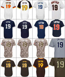 Wholesale Tony Brown Green - Baseball Jerseys Men's #19 Tony Gwynn Flexbase Cool Base Navy White Brown Jerseys Stitched S-4XL