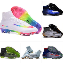 Wholesale Boots Boys - With Box Kids Soccer Shoes Mercurial CR7 Superfly V FG Boys Football Boots Magista Obra 2 Women Youth Soccer Cleats Cristiano Ronaldo