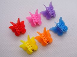 Wholesale Mini Hair Clip Claw - 50 Mixed Color Plastic Butterfly Mini Hair Claw Clips Clamp for Kids