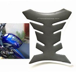 Wholesale motorcycle tank carbon fiber - 1pcs Carbon Fiber Tank Pad Tankpad Protector Sticker For Motorcycle Universal Fishbone Free Shipping