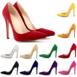 Wholesale Cotton Cut Out Dress - Free Shipping Classic Sexy Pointed Toe High Heels Women Pumps Shoes Suede Size 35-42