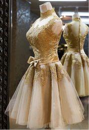Wholesale unique vintage dresses - 2015 Vintage High-Neck Lace A-Line Bowknot Short-Length Cocktail Dress Unique Bridesmaid Dress
