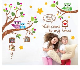 Wholesale Wall Stickers Welcome - Welcome to my house Owls Family Tree Wall Art Decal Sticker Kids Room Nursery Wall Decoration Mural Poster Good Night Wall Quote Decal