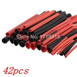 Wholesale Low Voltage Wire Wholesale - Hot Sale 42pcs 6 Sizes Ratio 2:1 Red Black Polyolefin H-type Heat Shrink Tubing Tube Sleeve Sleeving Cable Wrap Wire Kit