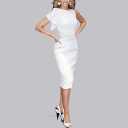 Slimming ruched midi vestido on-line-2015 Sexy Mulheres Vestidos Elegantes Vintage Ruched Túnica de Negócios Casual Partido Bodycon Magro Cintura Midi Trabalho Lápis Vestido Vestidos FG1511